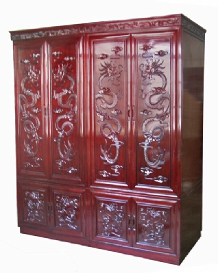 Carved Chinese Rosewood Wardrobe