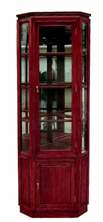 Chinese Rosewood Corner Display Cabinet LongLife Carved