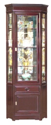 Handcrafted Chinese Rosewood Corner display Cabinet with mirror back and spotlight.