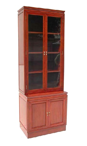 Rosewood book case with 2 glazed doors & 2 wood panelled doors.