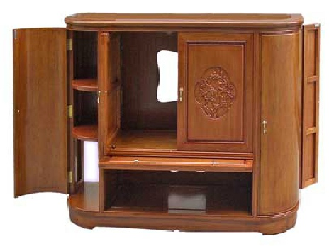 Bespoke rosewood TV audio cabinet with bird  and flower carvings -open.