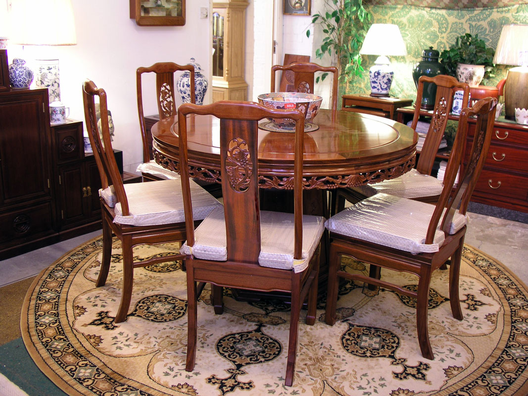 Round Dining Table Incl 6 Chairs Bird Amp Flower Design