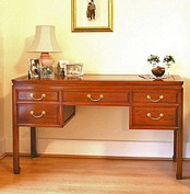 Oriental furniture - Chinese rosewood desk with 5 drawers, Ming style Mandarin design with solid brass handles
