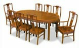 Chinese dining table-oval 8 seat - bird and flower- rosewood