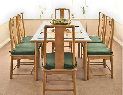 Ming Style dining table with folding leaves, including 6 side chairs