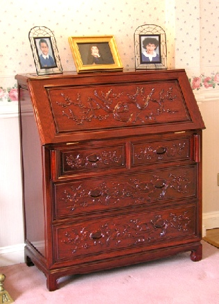Chinese rosewood desk with bird and flower carving