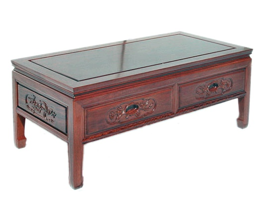 Rosewood Coffee Table with two drawers Bird and Flower Carving