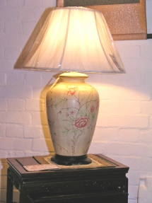 Hand painted Lamp including shade peony design
