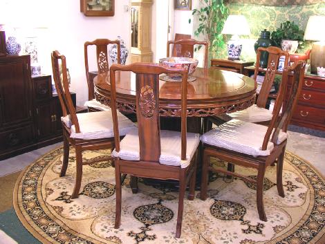dining table - round pedestal 48 inch Bird & flower design