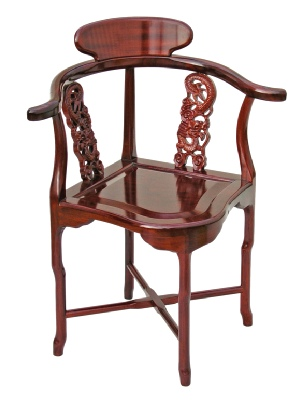 Rosewood Chinese corner chair with pierced dragon carvings