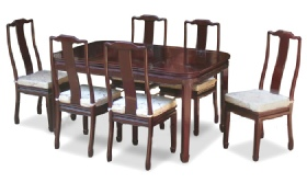 Chinese dining table with 6 side chairs