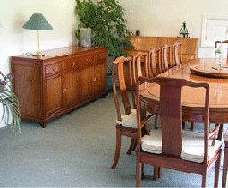 Chinese Dining room furniture - Oval rosewood classic Ming style dining table and sideboard - Mandarin plain design