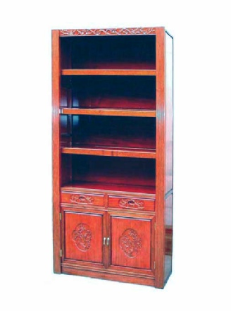 Custom made bookcase with Bird and Flower carving