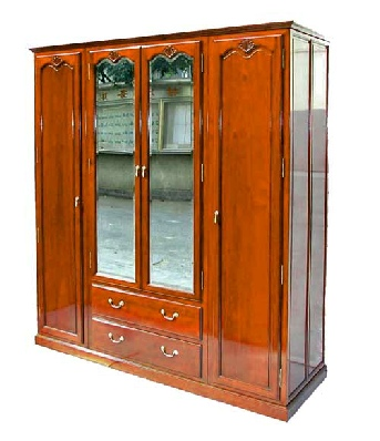 French style Rosewood Wardrobe with mirror doors over 2 drawers