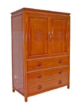 2 door Rosewood cabinet over 3 drawer base, with longevity carving