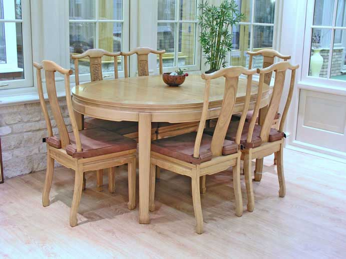 Oval Chinese Dining Table With 6 Chairs Long Life Design