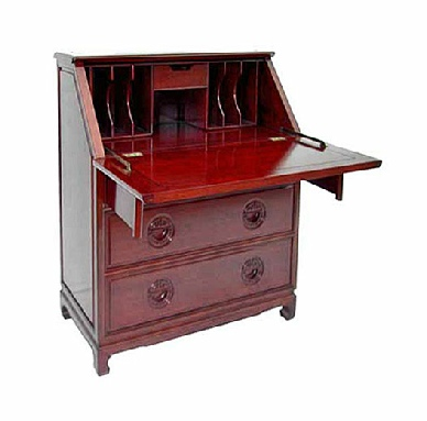 Rosewood bureau with LongLife carved drawer handles