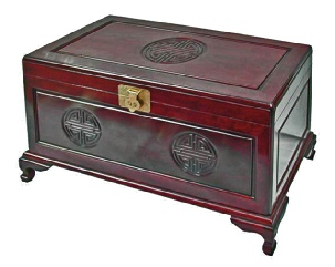 Longlife carved camphorwood lined chest, rosewood colour 3L