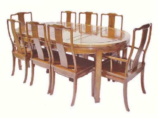 Oval chinese dining table with 8 chairs plain mandarin for Oriental dining table