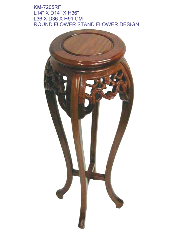 Rosewood Round Flower Stand / Plant Stand with Bird and Blossom Carving