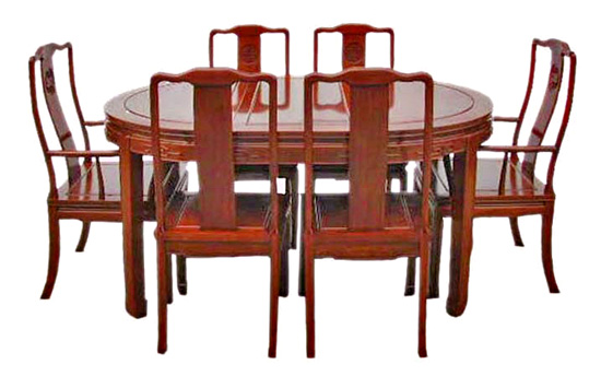 Oval chinese dining table with 6 chairs long life design for Table 6 km turquie