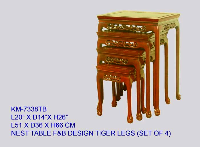 Rosewood Nest of Tables with Tiger Legs Flower and Bird Design