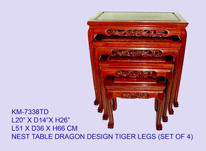 Rosewood nest of tables with Tiger Legs and Dragon Carving