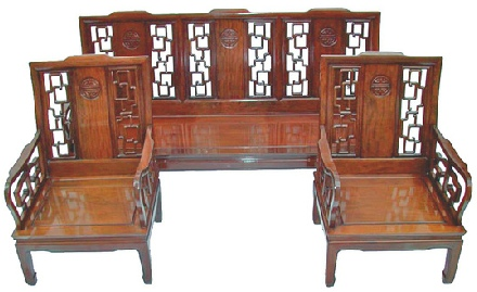 Chinese rosewood high back sofa set, Long Life design.
