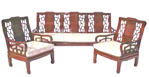 Chinese High Back sofa - rosewood - plain design