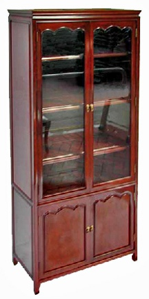Chinese rosewood book cabinet with arched door panels