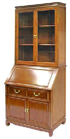 chinese rosewood desk with book case