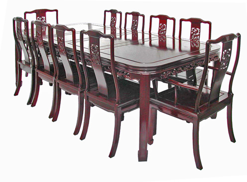 10 seat Chinese dining table with bird and flower carving   round cornered  Mandarin style. Round cornered dining table   10 seat dragon design
