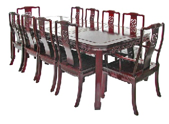 10 seat Chinese dining table with bird and flower carving - round cornered Mandarin style. Also available without carving.