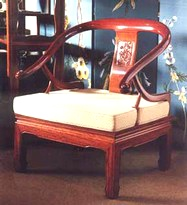 Chinese rosewood horseshoe backed King chair with carved back