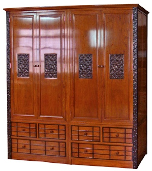 Rosewood double wardrobe with contrasting Reishi style carving
