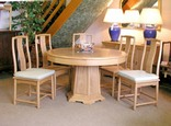 Chinese Ash pedestal dining table - round 6 seat Ming design.