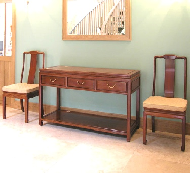 Chinese furniture - 3 drawer serving tables with shelf