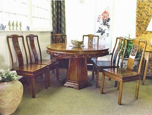 Chinese rosewood pedestal dining table - round 6 seat LongLife design