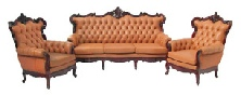 Queen Anne Leather sofa set