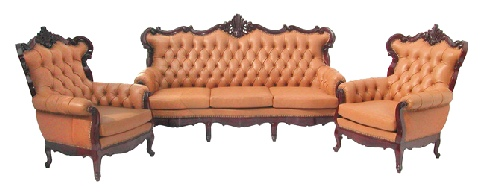Queen Anne Leather and Rosewood Sofa set of 3 pcs