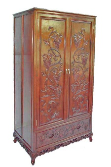 Carved Chinese Rosewood Wardrobe with 2 doors and drawer