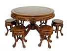 Chinese rosewood pedestal table with 6 seat stools dragon carved with tiger feet.