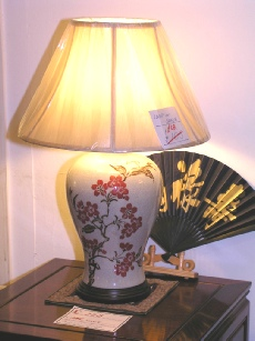 Round Jar lamp with red blossom painting including shade