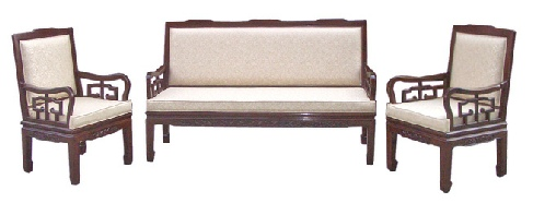 Chinese Rosewood High Back Sofa, with flower carving and fixed cushions