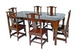 Chinese rosewood dining table - 6-10 seat rectangular extending Ming style