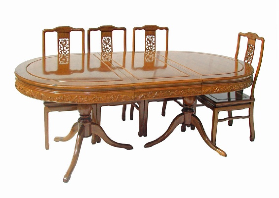 Rosewood Oval Dining Table With 8 Chairs On 2 Pedestals