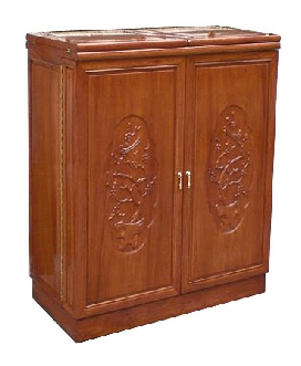 Carved Square Bar Cabinet