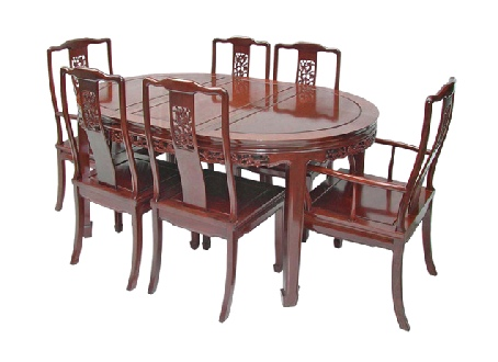 Oval Chinese Dining Table & 6 chairs - Bird & Flower design.