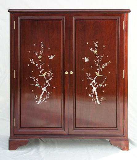 Chinese shoe cabinet with mother of pearl inlays, simple bird and flower design