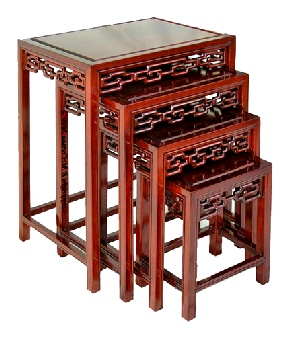 Chinese nest of tables with open key design carving